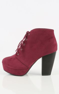 Loving the burgundy color on these faux suede chunky heel ankle booties! Lace it up this Fall season! I MakeMeChic.com