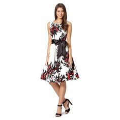 The Collection White floral flared dress- at Debenhams.com