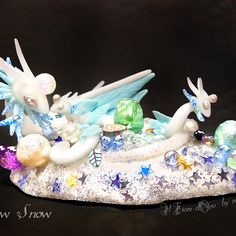 Dragon sculpture: new snow. ooak miniature of snow spirit dragons with treasure hoard, nest and babies, fantasy winter christmas collection