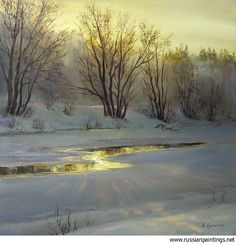 Busygin Valeriy - 'Thawed Patch' Painting Snow, Winter Painting, Winter Art, Artist Painting, Selling Paintings, Buy Paintings, Nature Paintings, Landscape Artwork, Watercolor Landscape