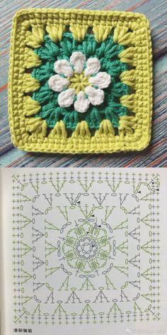 Crochet Flower Squares, Crochet Blocks, Granny Square Crochet Pattern, Crochet Diagram, Crochet Chart, Free Crochet, Crochet Granny, Crochet Flowers, Crochet Motif Patterns