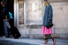 Charlotte Groeneveld wearing Tome skirt, Jimmy Choo shoes and Chanel bag after a show at Paris Fashion Week