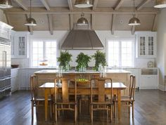 East Hampton kitchen with large island and stainless steel appliances  Dining Kitchen Architectural Detail Coastal Farmhouse
