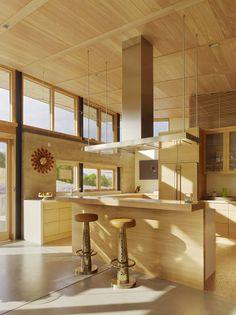 Kitchen, Breakfast Bar, Caterpillar House in Carmel, California by Feldman Architecture