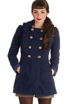 Fabulous blue coat. Will go great with browns, reds, and oranges!