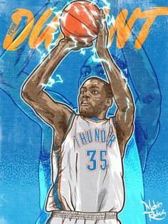 kevin durant illastrastion | Kevin Durant 'Thunderstrike' Illustration - Hooped Up