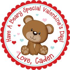 Beary Special Valentines Day Bear Personalized by partyINK on Etsy