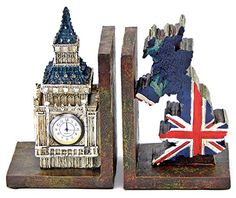 Decorative Bookends British London Big Ben Clock Tower and UK Map *** Find out more about the great product at the image link.