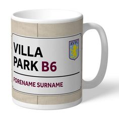 Personalised Football Club Street Sign Mug My Sister Birthday, Birthday Gifts For Sister, Girlfriend Birthday, Personalised Gifts For Him, Personalized Bridesmaid Gifts, Personalized Christmas Gifts, Personalized Street Signs, Personalized Football, Aston Villa Fc
