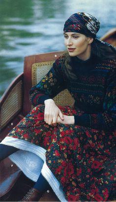 Autumn 1993 Fairisle style jumper and printed skirt.