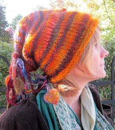handknit slouchy hat rustic forest fairy gypsy  by beautifulplace, $63.00