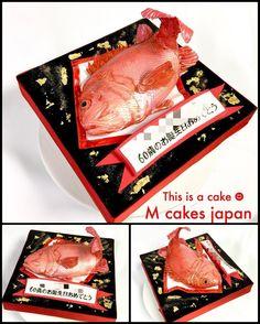 mcakesjapan還暦のお祝いに「めでたい!! 」ケーキ🎂✨ #還暦 #めでたい #60歳 #鯛 #魚 #誕生日ケーキ #Sixtiethbirthday #redsnapper #redfish #fondantcake #cakedecorating