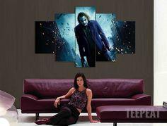 5 panel printed canvas painting joker movie poster canvas print art modern home decor wall art picture for living room Joker Batman, Joker And Harley, Harley Quinn, Canvas Home, Canvas Wall Art, Canvas Prints, Dark Knight Wallpaper, Batman Wall Art, Der Joker