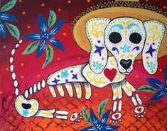 Mexican Folk Art Day of the Dead Dog Puppy DOD Collectible Art Deco Print Poster Art Ellison Choose your Size Dog Skull, Sugar Skull Art, Sugar Skulls, Dead Dog, Art Deco Print, Dachshund Art, Daschund, Day Of The Dead Art, Kunst Poster