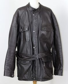 39b218c5bfca J Peterman Leather Long Jacket XXL Dark Brown Belt Snap and Zipper Closure  Moto  JPeterman
