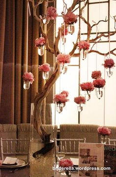 Pretty In Pink Wedding Inspirations Branch Centerpieces, Wedding Centerpieces, Wedding Table, Tall Centerpiece, Centerpiece Ideas, Centrepieces, Manzanita Centerpiece, Wedding Reception, Orchid Centerpieces