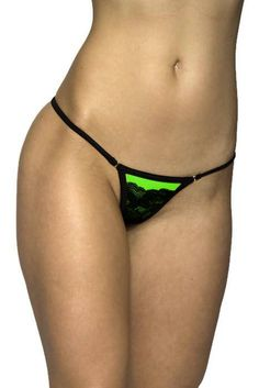 Neon green-black lace Y back thongvery sexy thong  thong