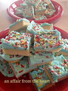 Frosted Sugar Cookie Bars | An Affair from the Heart -- Feeds a HUGE crowd and makes everyone smile! Change up the colors for any event!