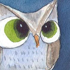 Whooo Blue - OWL - ACEO Original Watercolor Painting - Cute Owl by Allison Stein