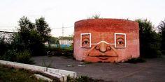 Torres, ruínas, muros e prédios abandonados ganham expressões fortes e bem humoradas nas mãos de Nomerz.