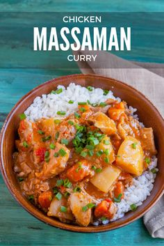 This slow cooker Chicken Massaman Curry is creamy, slightly spicy, nutty, and rich with flavor.