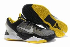 Nike Zoom Kobe VII 7 Mens Black Yellow Gray#Basketball shoes#sale on http