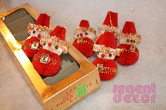 6 little paper Santa Claus guys coming at you from the 60s. These are so cute, festive, and in really great shape considering they are made from