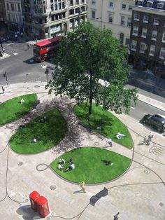 <p>We were asked by the City of London Corporation to develop a design for a substantial piece of reclaimed public space that would be created by a scheme to alter and realign the junction of London Wall and Moorgate.</p> <p>The objectives of the design are to create a coherent urban space by dividing up the existing street and grassy knoll in favour of a web of spaces. The character of these spaces is more green and calm under the tree to the east, which is already a natural holding spot…