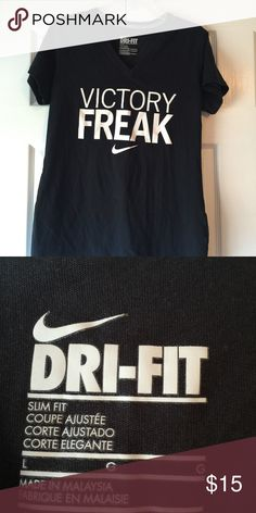 """NIKE dri-fit slim fit tee Cute black """"Victory Freak"""" dri-fit slim fit tee in excellent condition and from a smoke free and dog friendly home. Nike Tops Tees - Long Sleeve"""