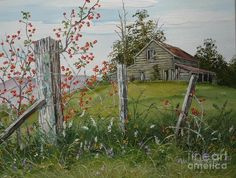 Rustic Barn Painting - Berry Barn by Val Stokes Barn Pictures, Pictures To Paint, Landscape Art, Landscape Paintings, Watercolor Barns, Watercolour, Farm Paintings, Country Paintings, Barn Art