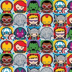 Marvel Kawaii Character Tiles Premium 100% Cotton fabric