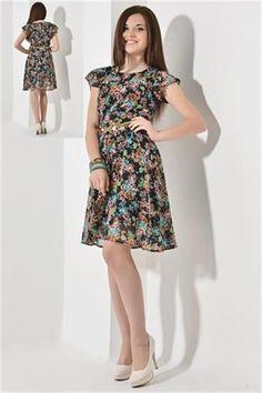 Tül Kollu Desenli Tunik Elbise   Modelleri ve Uygun Fiyat Avantajıyla   Modabenle