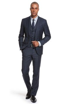 Three-Piece Suit in Dark Blue Window Pane Check by Hugo Boss Black