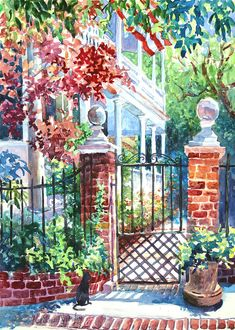 Charleston Painting - Tradd Street Tradition by Alice Grimsley Watercolor Kit, Watercolor Artists, Watercolor Landscape, Landscape Art, Landscape Paintings, Watercolor Paintings, Watercolours, Landscapes, Nostalgic Art