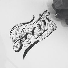 Different hand lettering and typography
