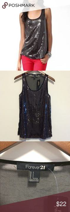 Forever 21 black sequin top NWT! So pretty! Pair with your skinny jeans and heels for a girls night out or under a blazer for the office! Brand new with tags. Front has sequins, back is sheer black. This is super cute! No trades/holds. Thank you! Forever 21 Tops Tank Tops