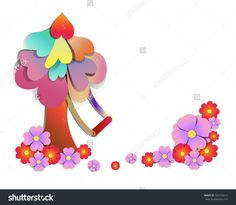 imagine paper art style vector - picture of tree with swing  among flower field