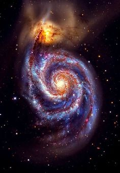 Whirlpool galaxy, also M51, with its companion dwarf galaxy NGC 5194. These two are interacting galaxies in the constellation Canes Venatici.