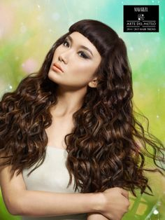 Summer Drizzle  is a Pret-a-Porter look inspired by a combination of light rain and a breeze in the summer month of June where one can still see the blue sky during the day. A long, curly, shiny hair is achieved by using Makarizo Smart Waves perming product with a touch of lustrous glaze and highlight.