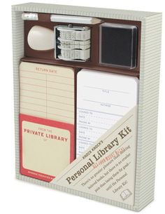 This personal library kit -- stocked with adhesive pockets, checkout cards, and a date stamp and ink pad -- transforms book-swapping habits while preserving the nostalgia of old-school libraries. $15