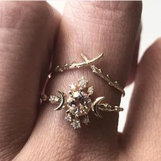 "Sofia Zakia on Instagram: ""Our signature morganite Wandering Star Ring stacked with Woodland, the tiniest pussywillow branch. Shot beautifully by @thearmourystore 🌙✨"""
