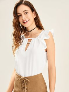Shop V Cut Neck Ruffle Shoulder Top online. SHEIN offers V Cut Neck Ruffle Shoulder Top & more to fit your fashionable needs. Ruffle Sleeve, Ruffle Blouse, Shein Dress, Ruffle Fabric, Shell Tops, V Cuts, Summer Shirts, White Style, Fashion News