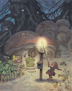 Erich Heinemann:  gnomes, mushrooms, and lanterns--the perfect combination for a children's book