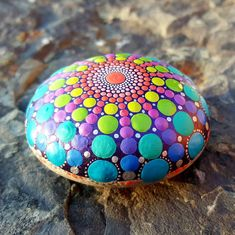Hand Painted Mandala Stone - original one off painted rock Acrylic Chakra Painting (MS043) by LeahLovesUK on Etsy https://www.etsy.com/listing/606398127/hand-painted-mandala-stone-original-one