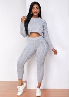 Grey Fashion, Petite Fashion, Womens Fashion, Beautiful Outfits, Cool Outfits, Fashion Outfits, Red Tracksuit, Grey Pattern, Neck Pattern