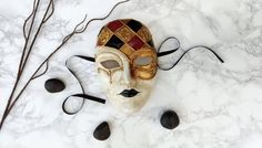 Full Face Masquerade Mask Red Black Gold by AnotherFaceStudio