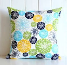 Geometric Circles Decorative Pillow Cover  Navy by bayanhippohome