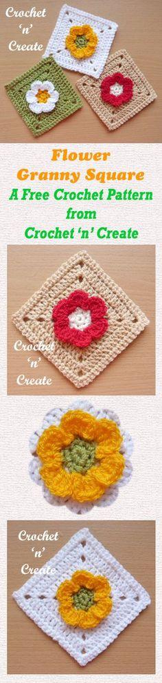 Free crochet pattern for flower granny square.