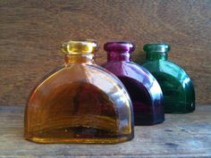 Vintage English Half Moon Glass Bottles by EnglishShop on Etsy