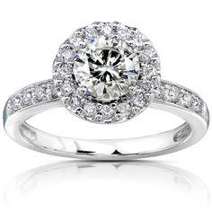 @Overstock - Moissanite and round-cut white diamond engagement ring14-karat white gold $799.99